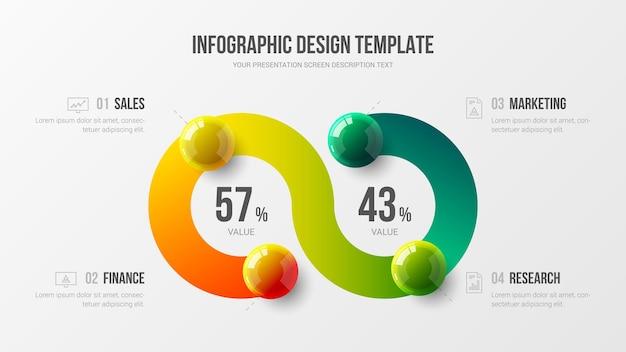 Infografica aziendale con palline colorate 3d