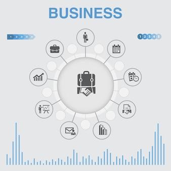 Infografica aziendale con icone. contiene icone come uomo d'affari, valigetta, calendario, grafico