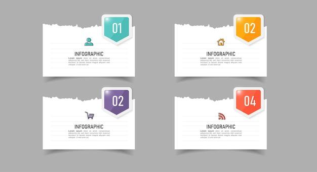 Infografica aziendale con concetto di carta per appunti