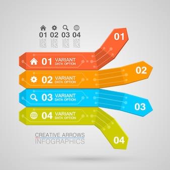 Infografica affari freccia stile origami illustrazione vettoriale.