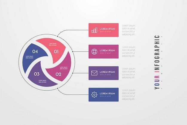 Stile del cerchio di infographics di affari con quattro opzioni, passaggi o processi. infografica circolare o ciclo. può essere utilizzato per il layout del flusso di lavoro, banner, diagramma, web design, istruzione.