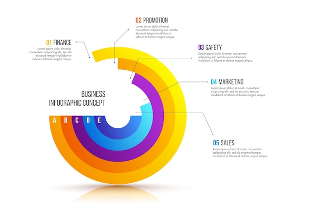 Progettazione di infografica aziendali. concetto di affari con 5 opzioni, passaggi o processi.