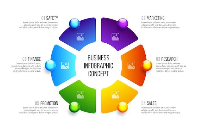 Progettazione di infografica aziendali. concetto di affari con 6 opzioni, passaggi o processi.