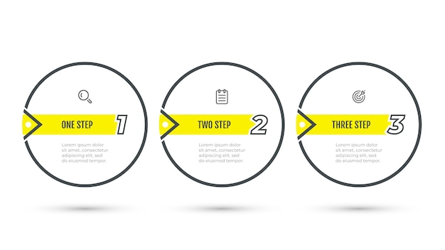Etichetta di progettazione infografica aziendale con elementi numerici e icona. fasi del processo di infografica vettoriale con 3 opzioni, cerchi.