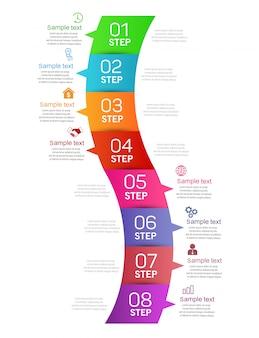 Modello di progettazione infografica aziendale con 8 passaggi o opzioni