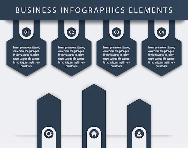 Elementi di infografica aziendali, 1, 2, 3, 4, passaggi, sequenza temporale, frecce di crescita, illustrazione