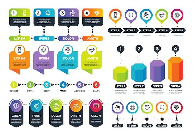 Infografica di affari. grafici informativi, cronologia e grafici circolari astratti. set vettoriale