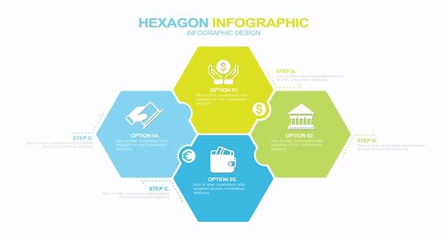 Infografica aziendale processo con 4 passaggi opzioni esagoni modello vettoriale illustrazione stock