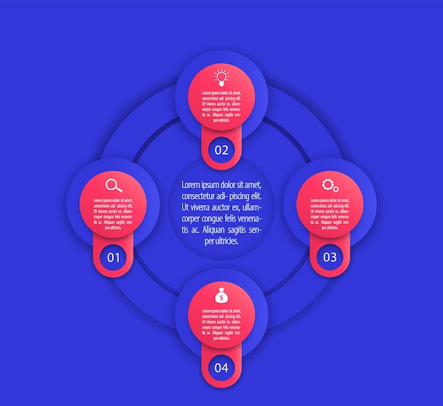 Modello di infografica aziendale, 1, 2, 3, 4 passaggi in blu e rosso