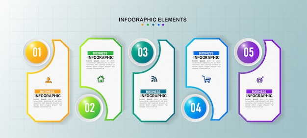 Modello di infografica aziendale 5 passaggi