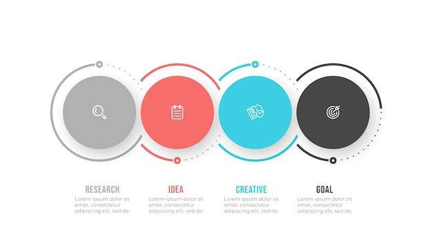 Elementi di disegno del modello di infographics di affari con icona e cerchi. processo di sequenza temporale con 4 opzioni o passaggi.