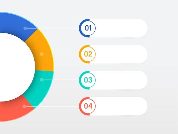 Layout del modello di infografica aziendale con quattro opzioni su sfondo grigio.