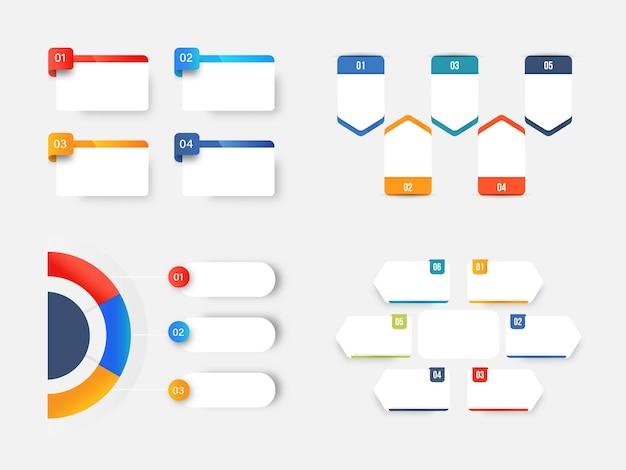 Layout del modello di infografica aziendale con varie opzioni di tipo.