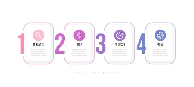 Modello di infografica aziendale. timeline con 4 passaggi freccia, quattro opzioni numeriche. elemento di vettore