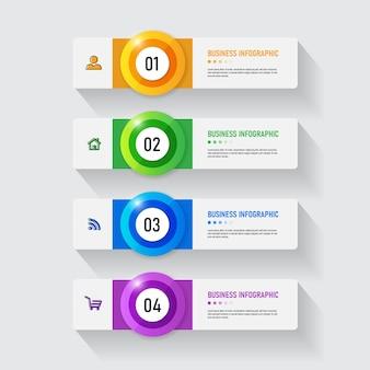 Modello di infografica aziendale con 4 passaggi Vettore Premium