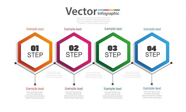 Cronologia di infographics di affari con 4 passaggi