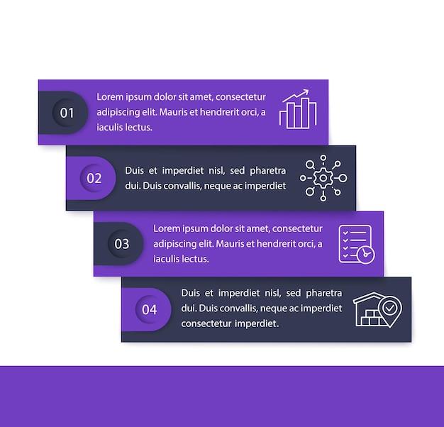 Infografica aziendale con icone di linea, 1, 2, 3, 4 passaggi