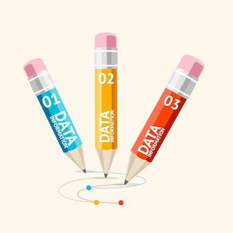 Le infografiche aziendali con le matite possono essere utilizzate per il layout del flusso di lavoro di presentazioni design piatto