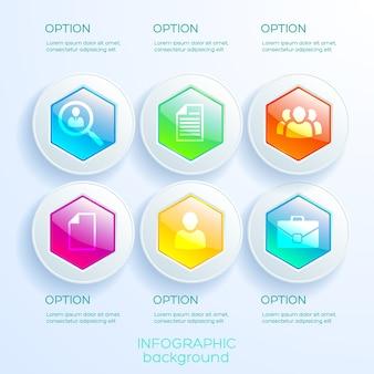 Infografica aziendale con sei opzioni esagoni lucidi colorati nei circoli e icone isolate