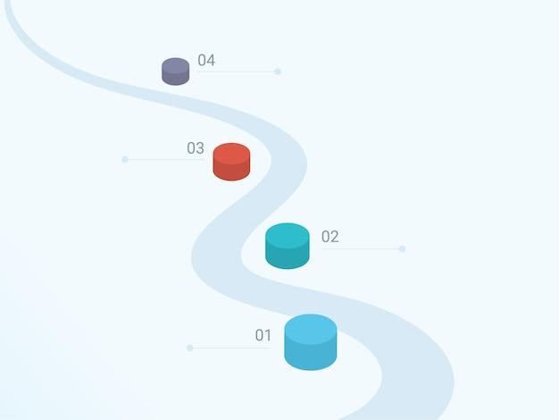 Layout del modello inforgraphic aziendale con quattro opzioni 3d su sfondo grigio.