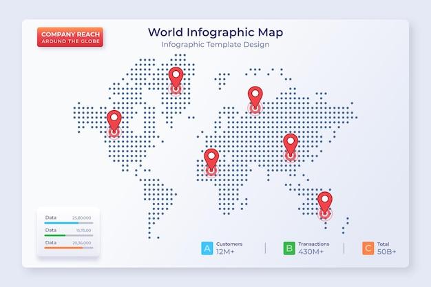 Modello inforgrafico aziendale con puntatore di posizione sul mondo