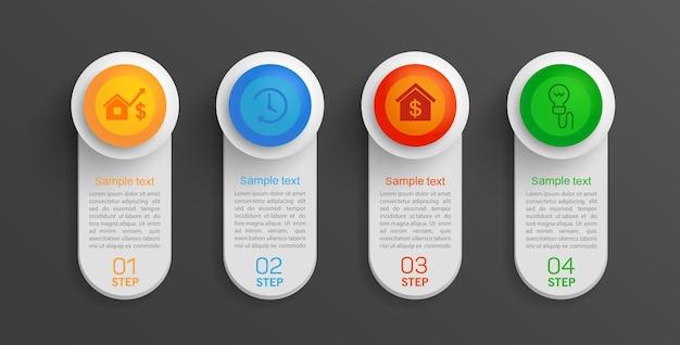 Banner di informazioni aziendali infografica con 4 passaggi
