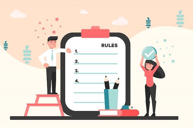 Affari, informazioni, presentazione, concetto di regole