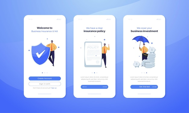 Illustrazione di assicurazione aziendale sul concetto dello schermo del kit dell'interfaccia utente