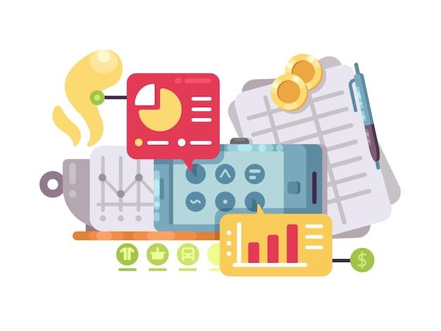 Business intelligence e analisi. grafici e grafici statistici. illustrazione vettoriale