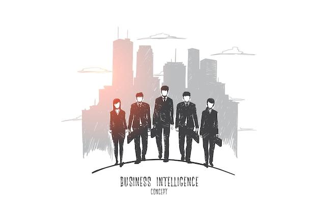 Concetto di business intelligence. uomini d'affari disegnati a mano e donne d'affari, edificio moderno sullo sfondo. uomini d'affari in giacca e cravatta illustrazione isolato.