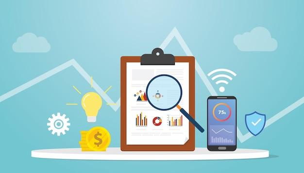 Concetto di business intelligence con grafico grafico e tecnologia con illustrazione vettoriale moderno stile piatto