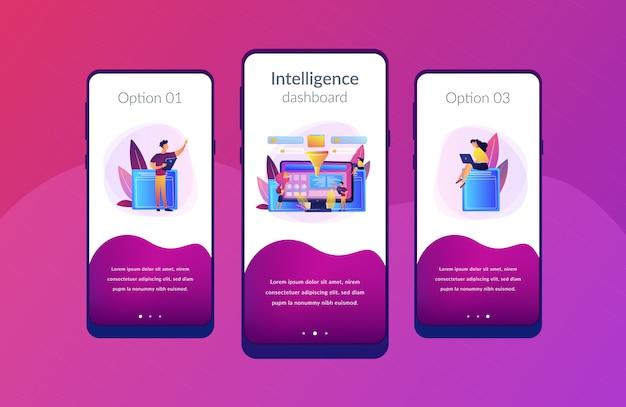Modello di interfaccia app dashboard di business intelligence.