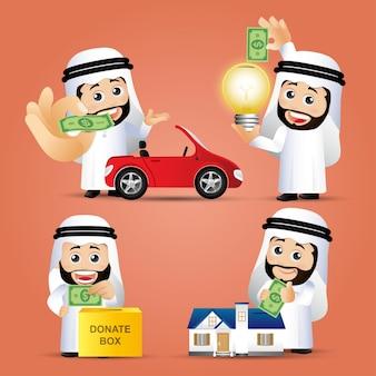 Set di uomini d'affari arabi concetto di investimento aziendale