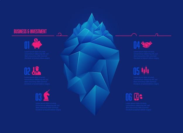 Concetto di business e investimento presentato con infografica, grafica di iceberg low poly con icone di business