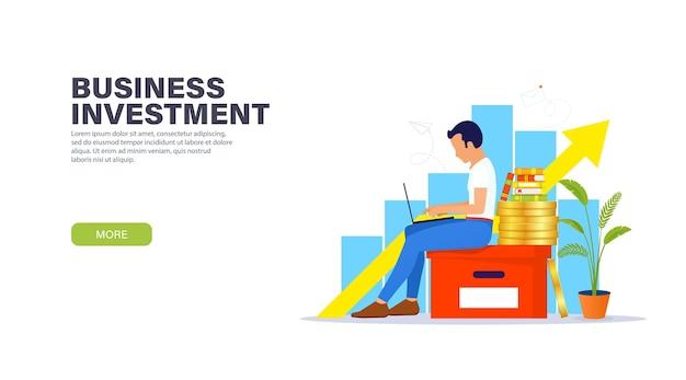 Concetto di pagina di destinazione degli investimenti aziendali.