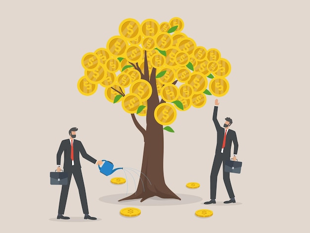 Profitto degli investimenti aziendali, metafora delle entrate e del reddito, due uomini d'affari che innaffiano e raccolgono contanti dall'albero dei soldi.