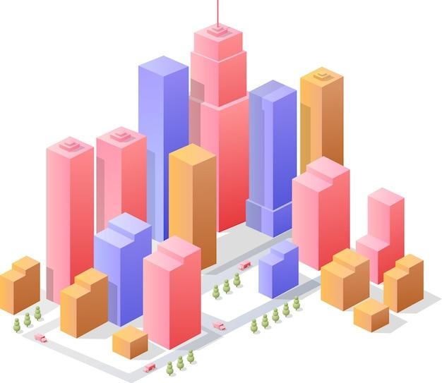 Città isometrica di affari con molte case, uffici, grattacieli, supermercati e strade con traffico differenti.