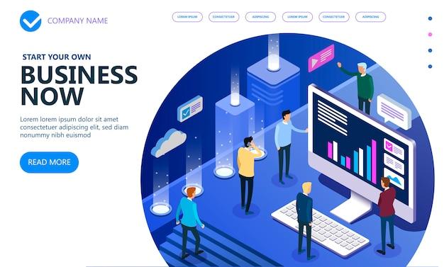 Persone isometriche di affari che lavorano insieme e sviluppano una strategia aziendale di successo, un concetto isometrico di vettore di marketing e finanza, illustrazione vettoriale