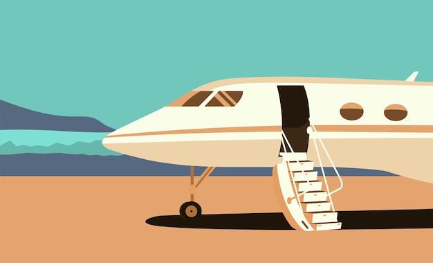 Business jet con portiera del passeggero aperta e rampa sul campo di decollo.