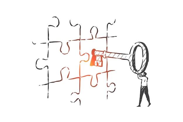 Chiave aziendale, soluzione, illustrazione di schizzo del concetto di leadership
