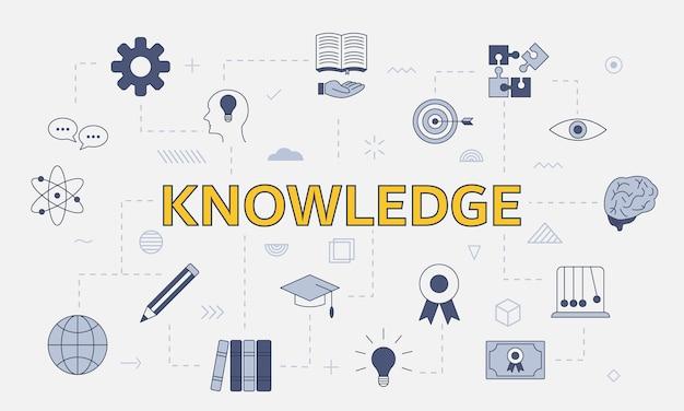 Concetto di conoscenza aziendale con set di icone con grandi parole o testo al centro