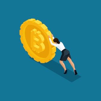 La signora di affari spinge un grande bitcoin della moneta, l'estrazione mineraria della criptovaluta di ico blockchain, illustrazione isolata progetto di avvio