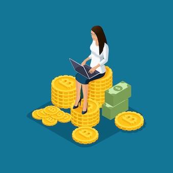La signora di affari si siede su un grande mucchio di estrazione mineraria di criptovaluta di ico e blockchain, illustrazione isolata progetto di avvio