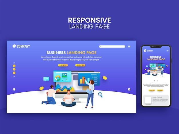 Progettazione della pagina di destinazione di affari con l'illustrazione di lavoro di squadra e dello smartphone