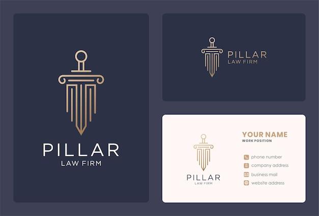 Design del logo del pilastro del diritto commerciale in stile monogramma.