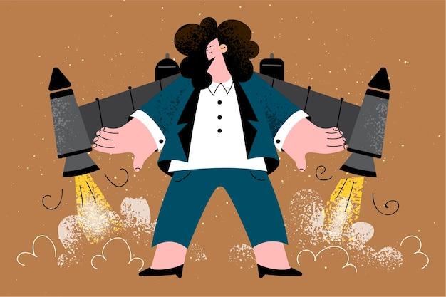 Leader aziendale, successo nel lavoro, concetto di avvio.