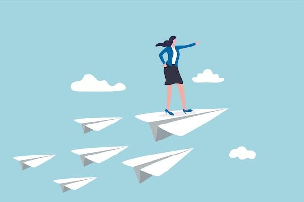 Leadership aziendale, potere della donna di guidare l'azienda per raggiungere l'obiettivo.