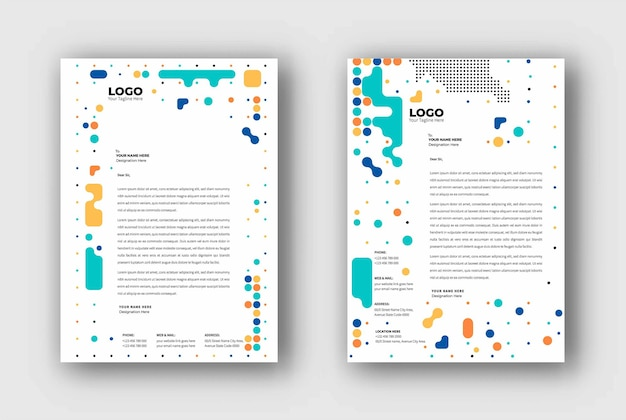 Progettazione di modelli di carta intestata aziendale, illustrazione vettoriale.