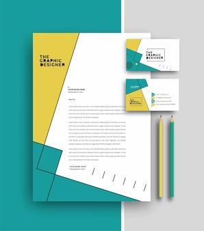 Carta intestata aziendale con progettazione di modelli di biglietti da visita, illustrazione vettoriale.
