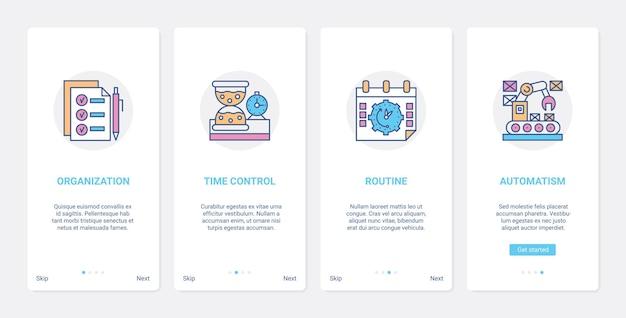 Set di schermate della pagina dell'app mobile di onboarding dell'interfaccia utente di controllo del tempo della gestione della linea aziendale